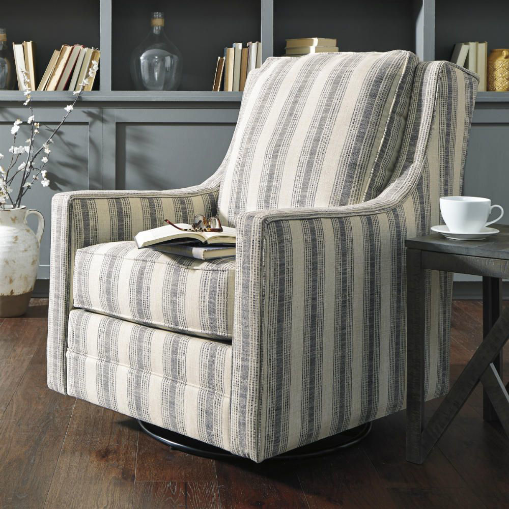 Kambria Swivel Gliding Chair - Ivory/Black - Lifestyle