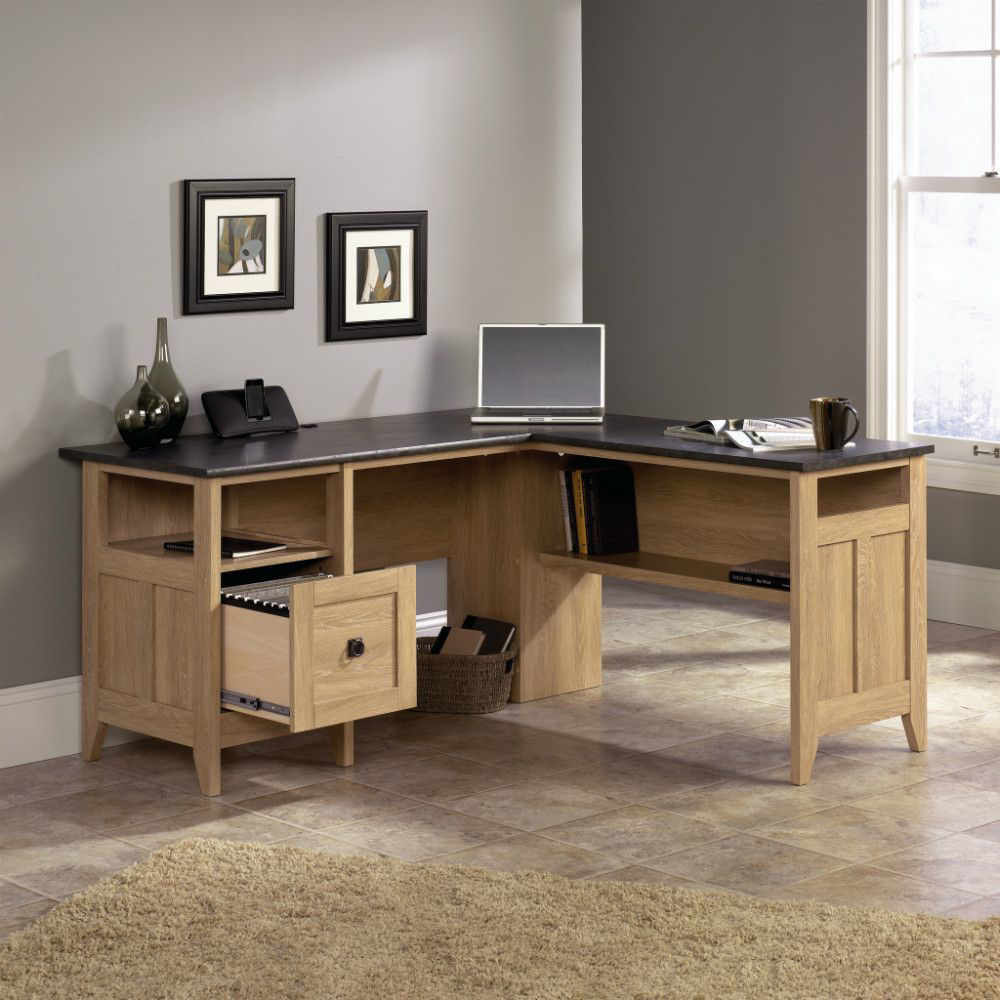 August Hill L-Desk Dover Oak - Open Drawer