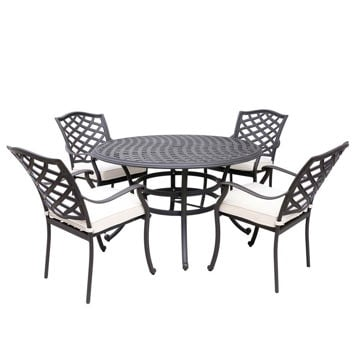 Paseo 5-Piece Outdoor Round Dining Set With Arm Chairs