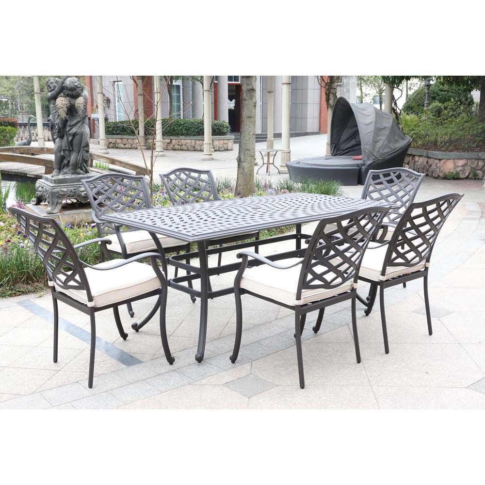 Paseo 7-Piece Outdoor Dining Set With Arm Chairs - Lifestyle