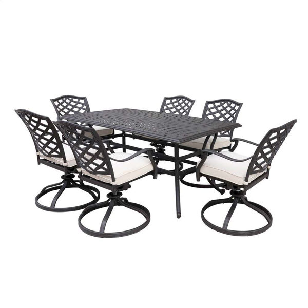 Paseo 7-Piece Outdoor Dining Set With Swivel Chairs