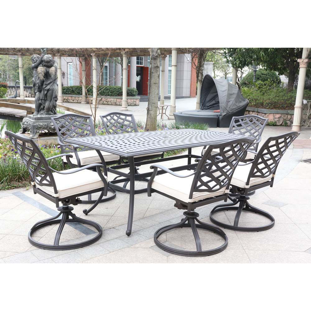 Paseo 7-Piece Outdoor Dining Set With Swivel Chairs - Lifestyle