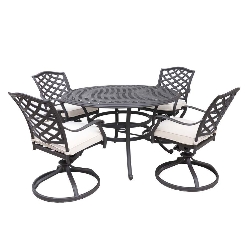 Paseo 10 Piece Outdoor Round Dining Set With Swivel Chair