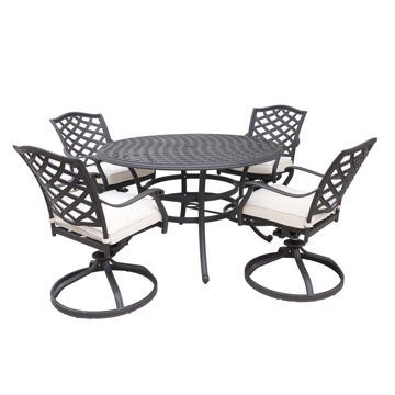 Paseo 5-Piece Outdoor Round Dining Set With Swivel Chair
