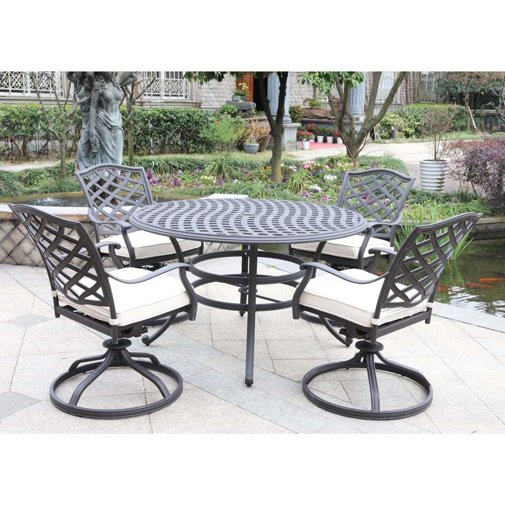 Paseo 5-Piece Outdoor Round Dining Set With Swivel Chair - Lifestyle