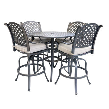 Silver Outdoor 5-Piece Bar Table Set
