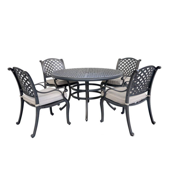 Picture of Silver Outdoor 5-Piece Dining Set With Four Arm Chairs