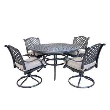 Picture of Silver Outdoor 5-Piece Dining Set With Four Swivel Chairs