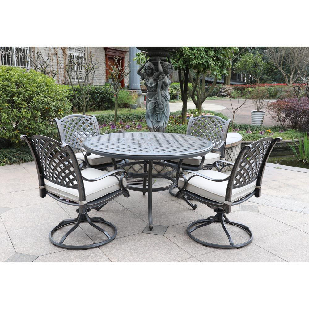 Silver Outdoor 5-Piece Dining Set With Four Swivel Chairs - Lifestyle