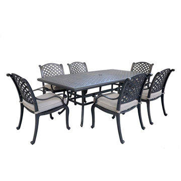 Silver Outdoor 7-Piece Dining Set With Six Arm Chairs