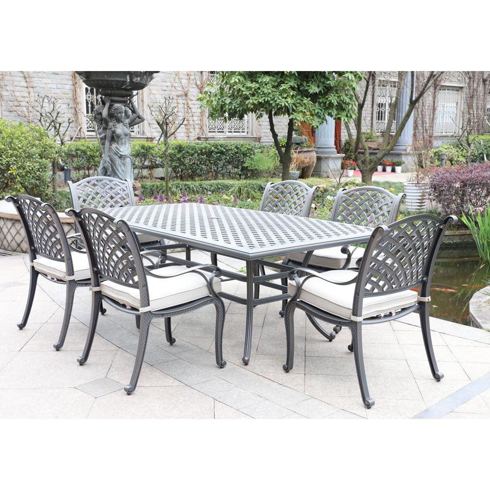 Silver Outdoor 7-Piece Dining Set With Six Arm Chairs - Lifestyle