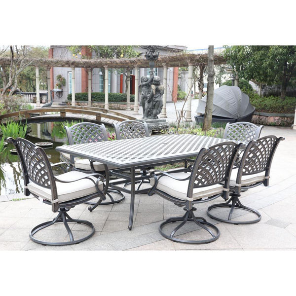 Silver Outdoor 7-Piece Dining Set With Six Swivel Chairs