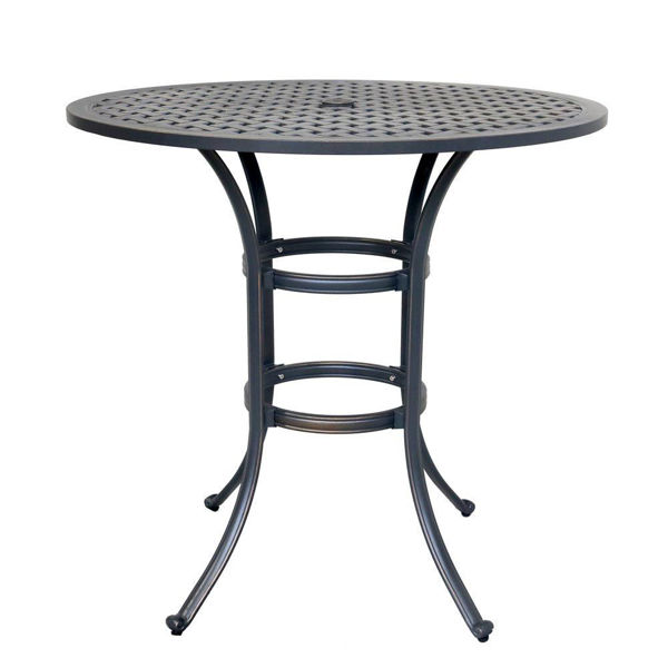 Silver Outdoor Round Bar Table