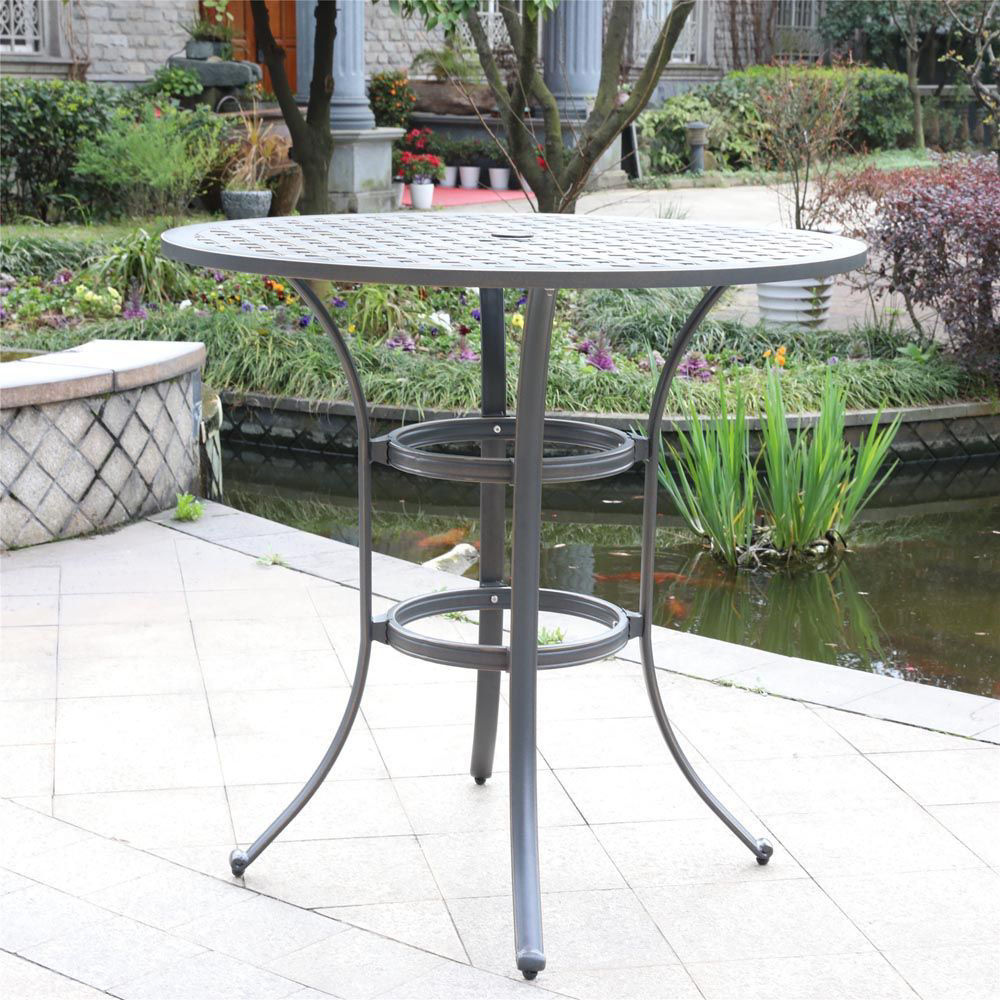 Silver Outdoor Round Bar Table - Lifestyle