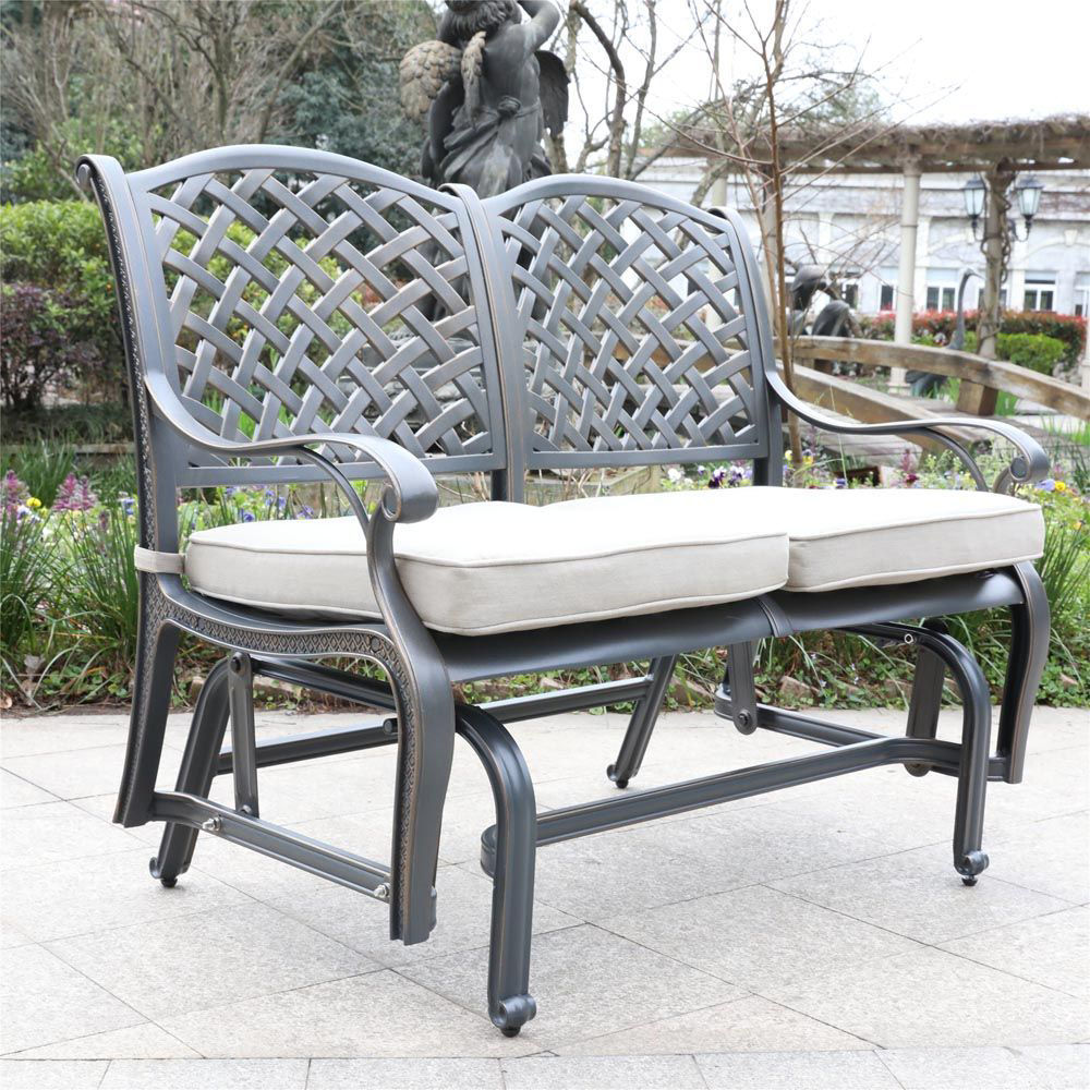 Silver Outdoor Bench Glider - Lifestyle
