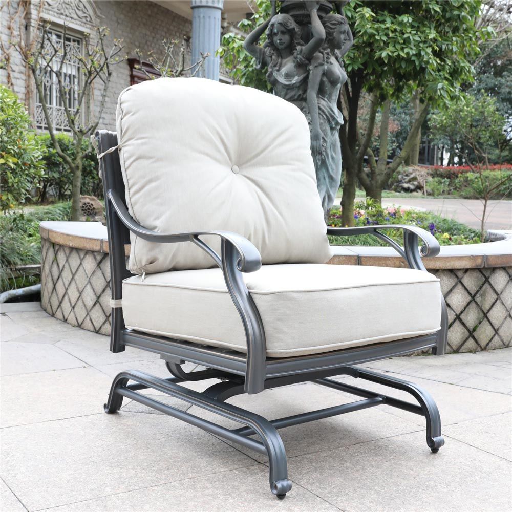 Silver Outdoor Motion Club Chair - Lifestyle
