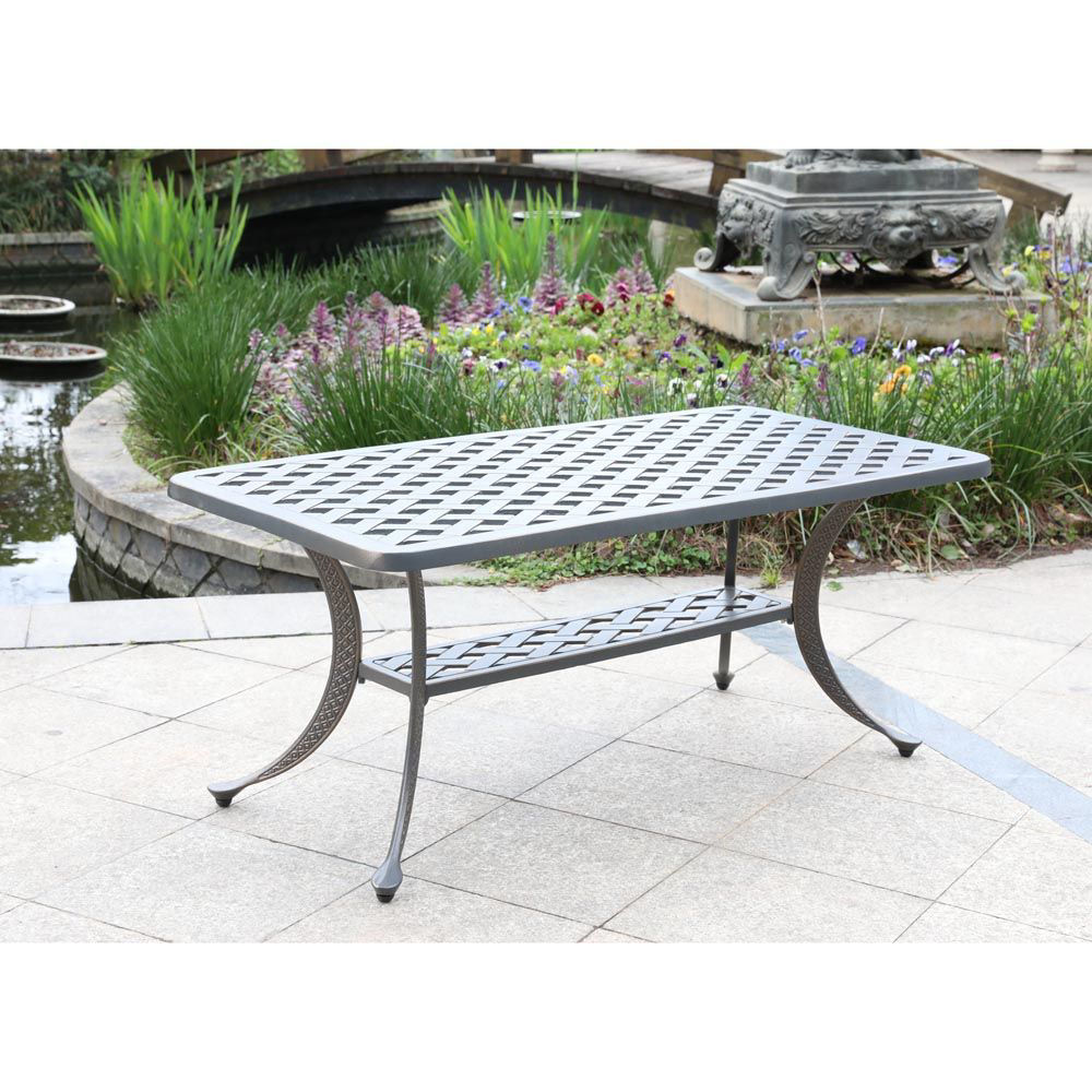 Silver Outdoor Coffee Table - Lifestyle
