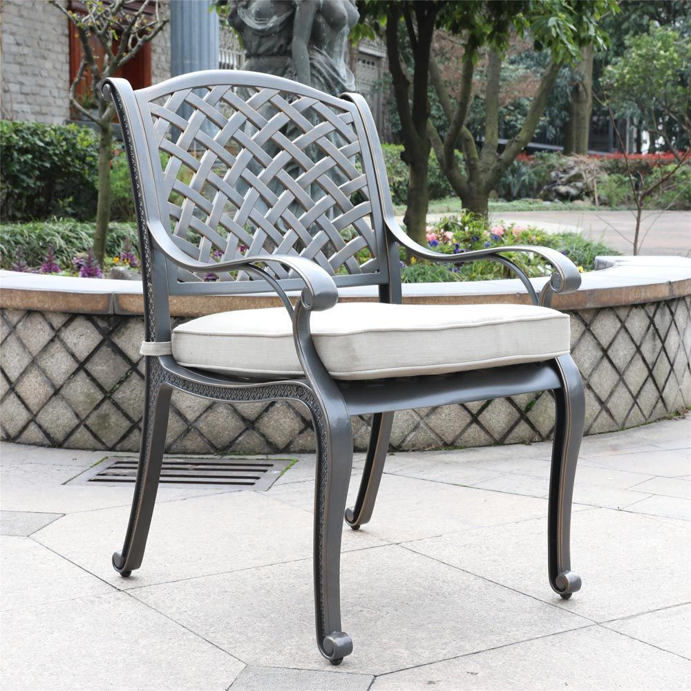 Silver Outdoor Dining Arm Chair - Lifestyle