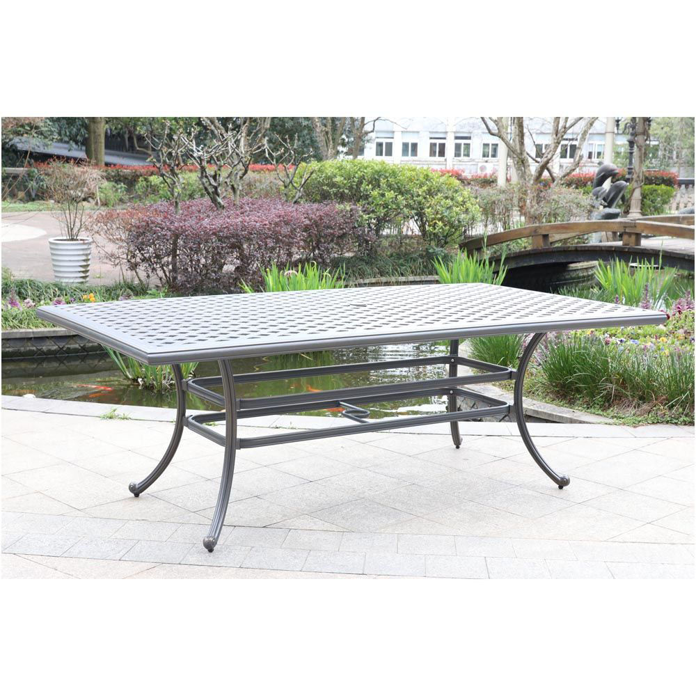 Silver Outdoor Rectangular Dining Table - Lifestyle