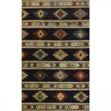 Picture of Onyx and Gold Hand-Tufted Southwestern Wool Rug - 8' Round