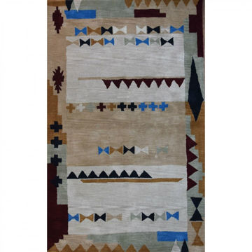 """Picture of Ivory and Blue Southwestern Tufted Wool Rug - 7' 6"""" x 9' 6"""""""