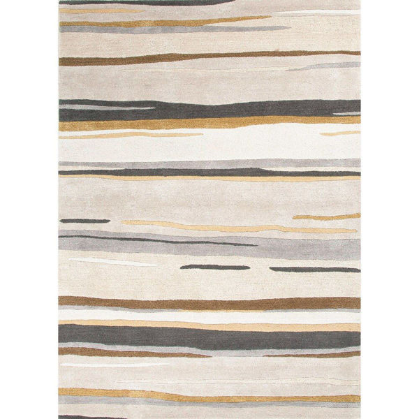 Picture of Ivory and Slate Transitional Hand-Tufted Wool Rug - 2' x 3'