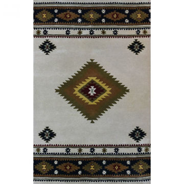 Picture of Cream and Black Hand-Tufted Southwestern Wool Rug - 8' x 11'
