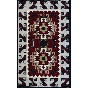 Picture of Crimson and Gray Hand-Tufted Southwestern Wool Rug - 5' x 8'