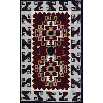 Picture of Crimson and Gray Hand-Tufted Southwestern Wool Rug - 8' x 11'