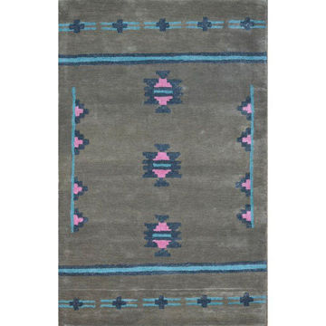 Picture of Brown Gray, Bright Blue and Pink Hand-Tufted Southwest Wool Rug - 5 x 8