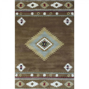 """Picture of Brown Hand-Tufted Southwestern Wool Rug - 2'6"""" x 12' Runner"""