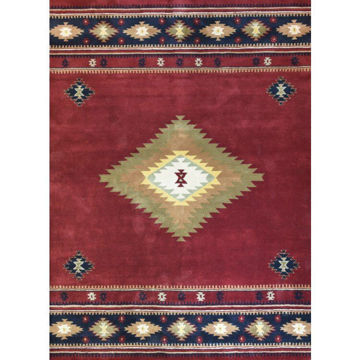 Picture of Burgundy and Navy Hand-Tufted Southwestern Wool Rug - 5' x 8'