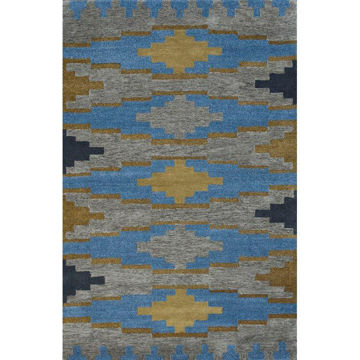 Picture of Cerulean Blue and Golden Brown Hand-Tufted Southwest Wool Rug - 5 x 8
