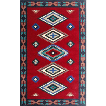 Picture of Cherry Red Hand-Tufted Southwestern Wool Rug - 5' x 8'