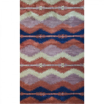 Picture of Chevron Rust Southwestern Tufted Wool Rug - 8' Round