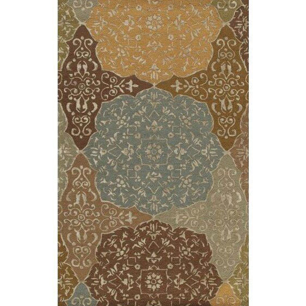 Picture of Apricot and Bronze Hand-Tufted Contemporary Arabesque Wool and Viscose Rug - 5' x 8'