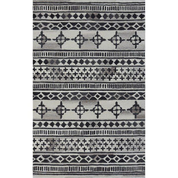 Picture of Black and Gray Hand-Tufted Southwest Wool Rug - 5' x 8'