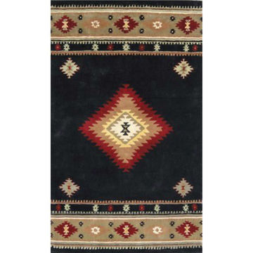 Picture of Black and Gray Hand-Tufted Southwestern Wool Rug - 5' x 8'