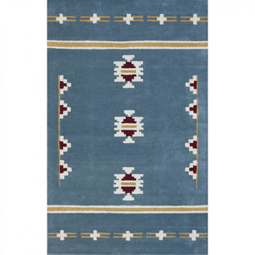 Picture of Blue, Gold and Maroon Hand-Tufted Southwest Wool Rug - 5 x 8