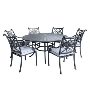 Artesia 7-Piece Outdoor Round Dining Set With Arm Chairs