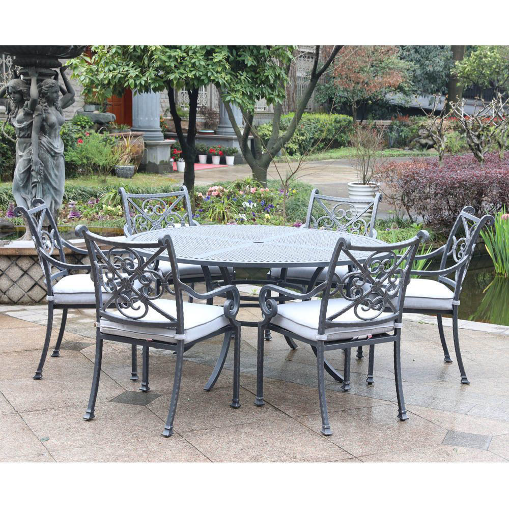 Artesia 7-Piece Outdoor Round Dining Set With Arm Chairs - Alt
