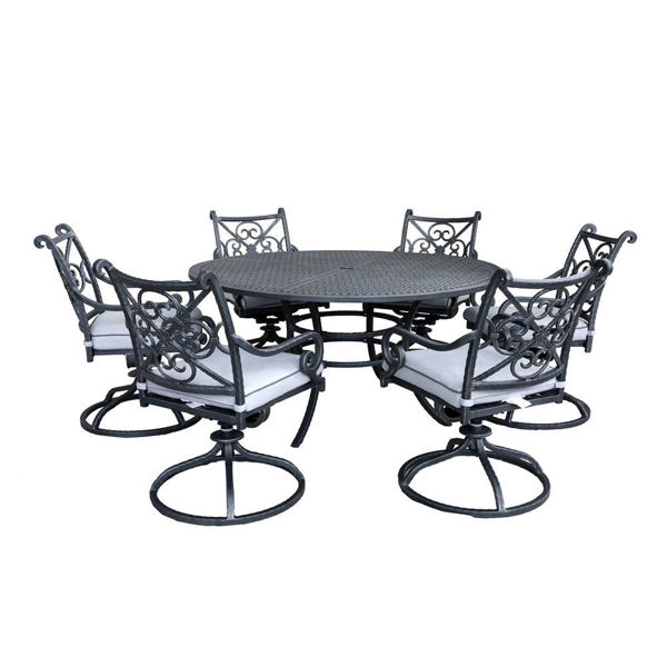 Artesia 7-Piece Outdoor Round Dining Set With Swivel Chairs