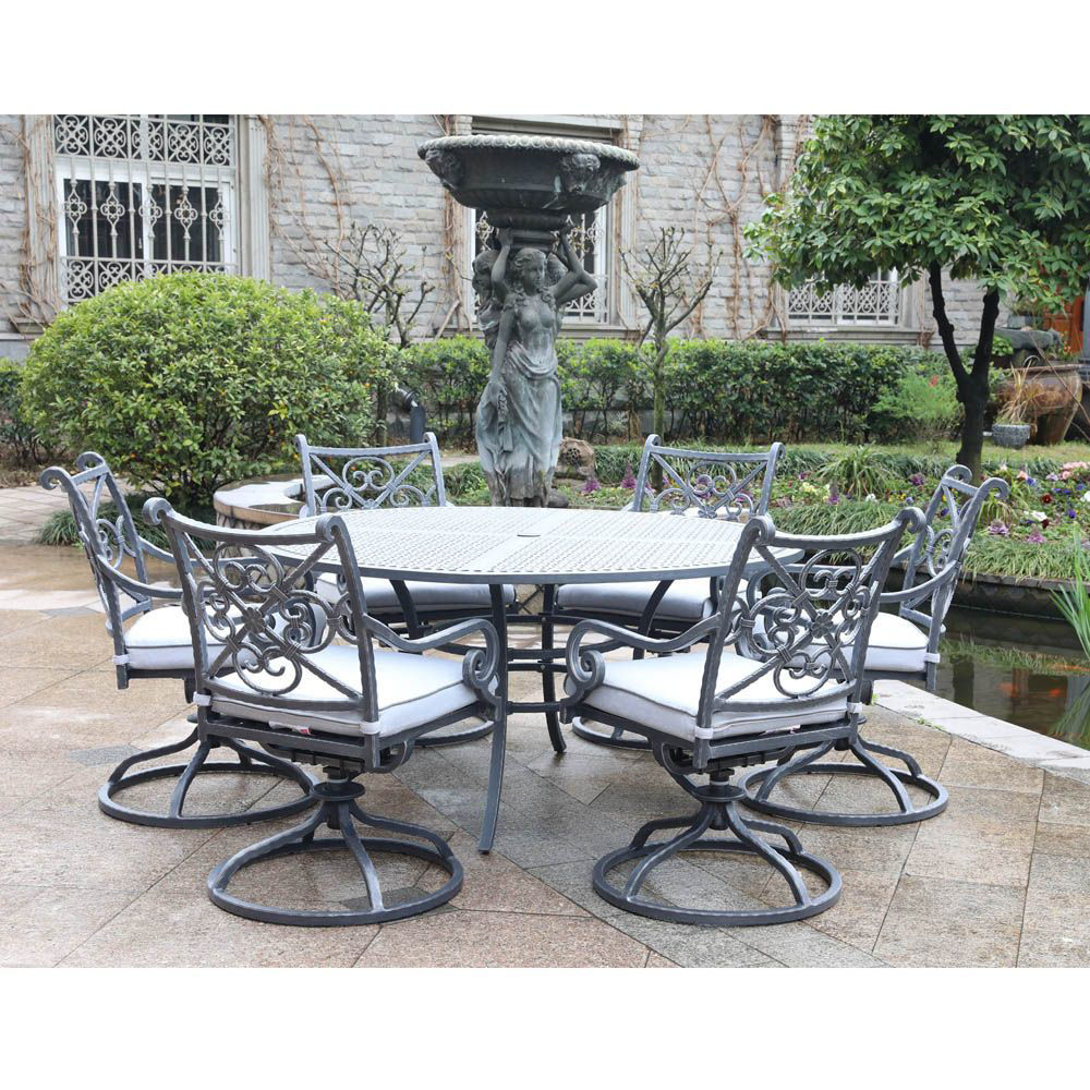 Artesia 7-Piece Outdoor Round Dining Set With Swivel Chairs - Alt