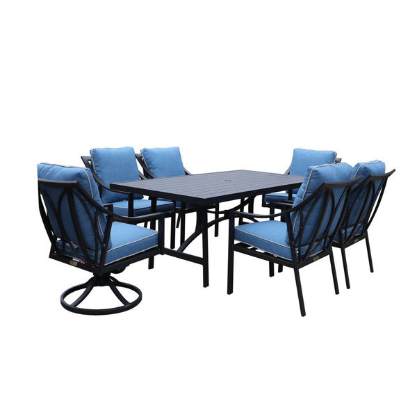 Geneva Outdoor 7-Piece Dining Set With Arm Chairs And Swivel Chairs