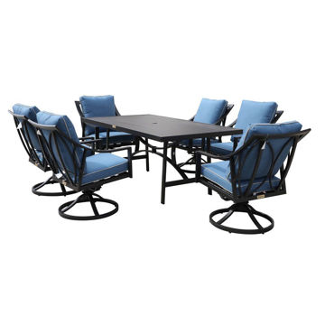 Geneva Outdoor 7-Piece Dining Set With Six Swivel Chairs