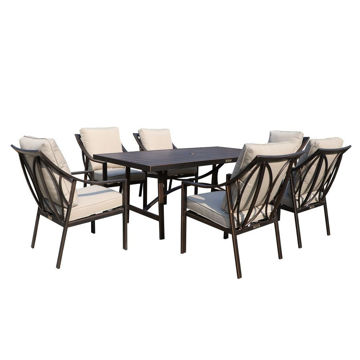 Aspen Outdoor Dining Set with 6 Arm Chairs