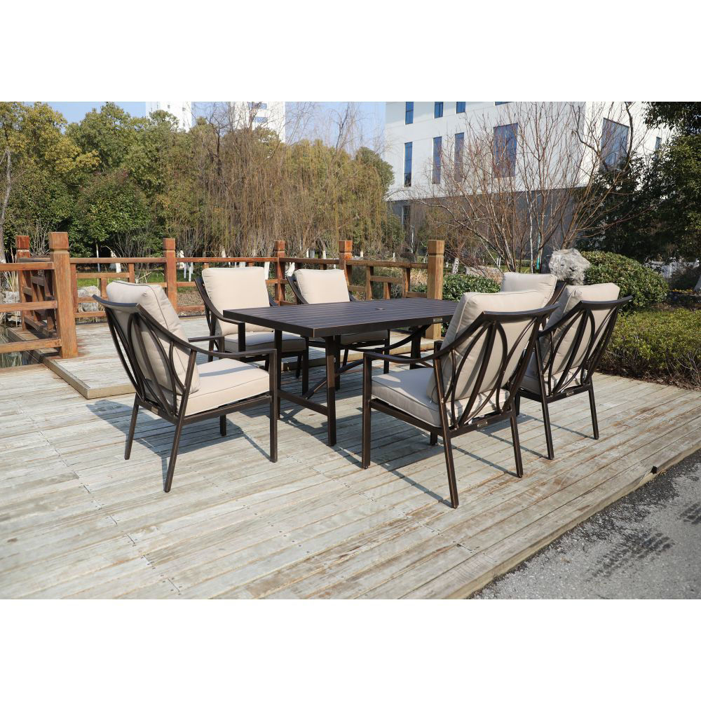 Aspen Outdoor Dining Set with 6 Arm Chairs - Lifestyle