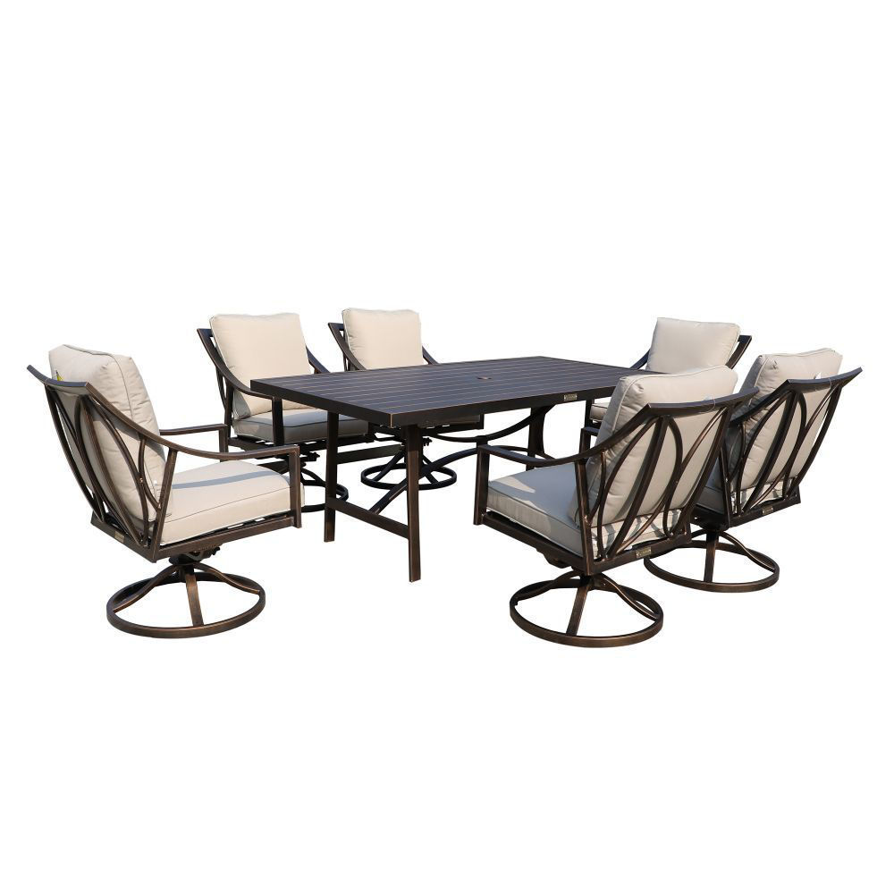 Aspen Outdoor Dining Set with 6 Swivel Chairs