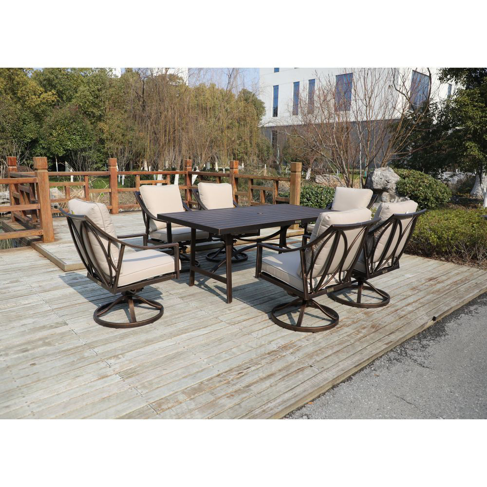 Aspen Outdoor Dining Set with 6 Swivel Chairs - Lifestyle