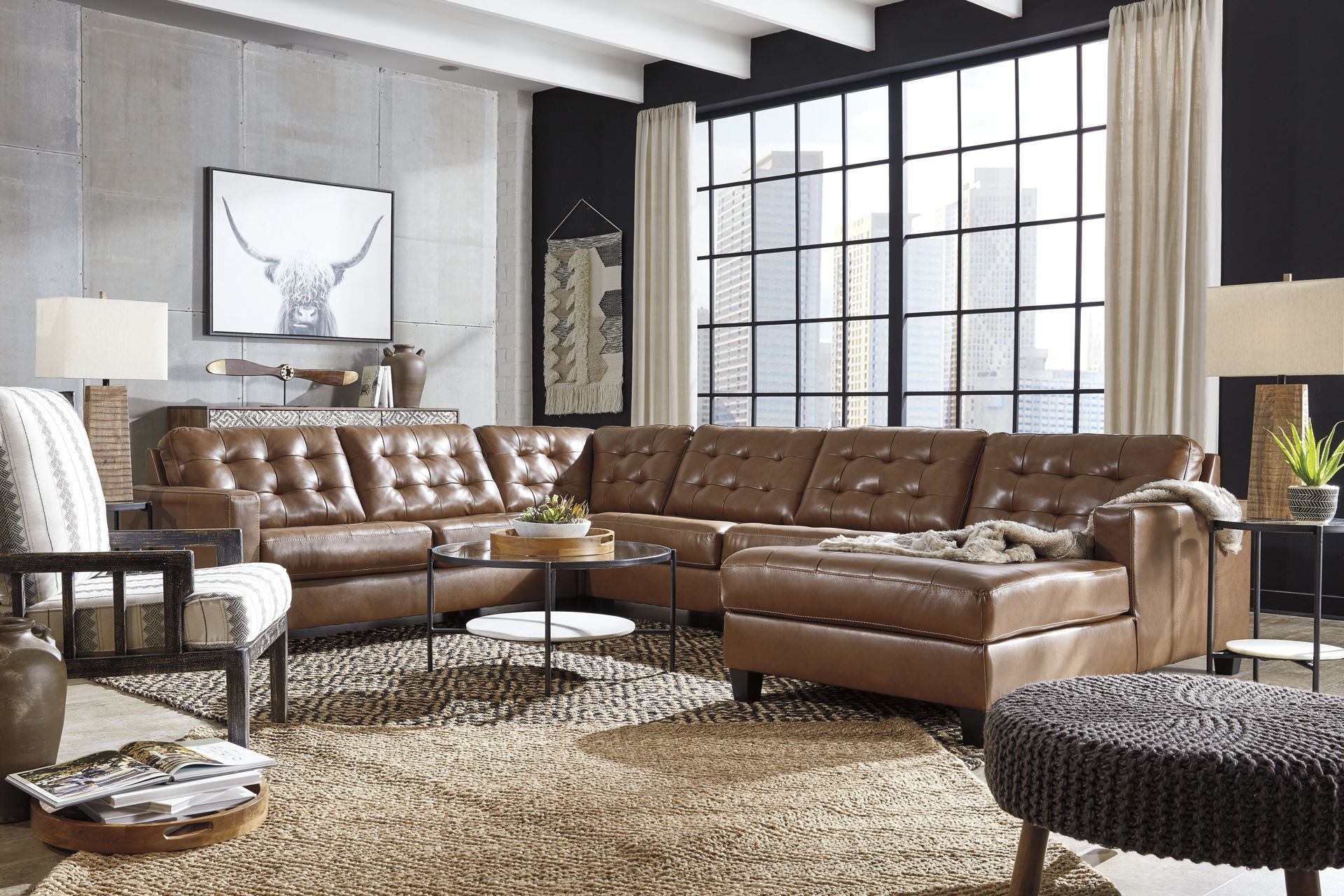 Bruno 4-Piece Leather Sectional - Lifestyle